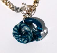 Aqua Glass Pendant on Vintage Chain